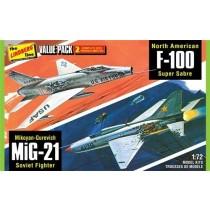 Lindberg HL432 Vietnam Era Fighters  ( F-100 Supersabre & Mig-21BD ) 1:72