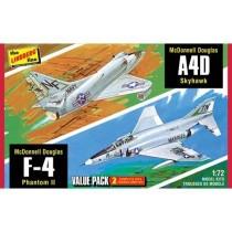 Lindberg HL433 Vietnam Era Fighters ( F-4G Phantom & A4D Skyhawk )  1:72